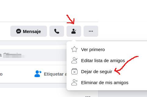 dejar de seguir amigo en facebook